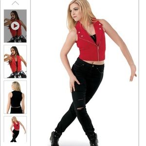 Weissman dance costume-moto vest with ripped jeans